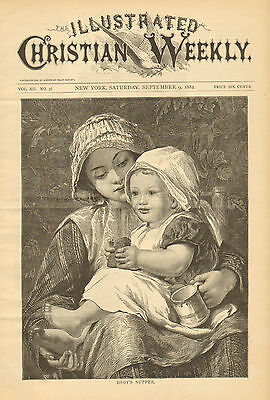 Mother, And Child, Baby's Supper, Bread, Vintage, 1882 Antique Art, Print.