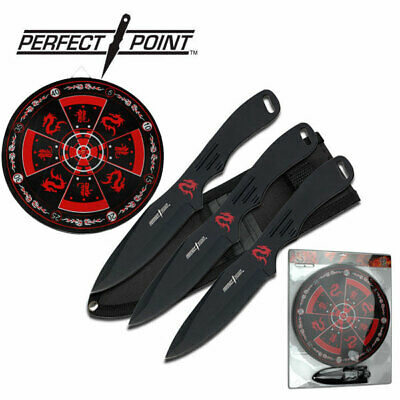 "NEW! Perfect Point 8"" Black 3-Pc. Throwing Knife Set w/ Target Board"