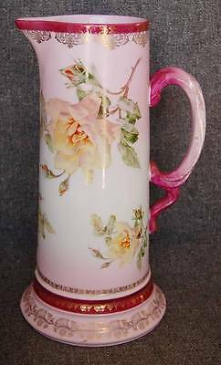 Breathtaking Shades Of Pink Yellow Floral Decorated Tall Handled Ewer Tankard