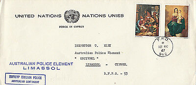Stamps England on 1967 UN cover Australian Police Element in Limassol Cyprus