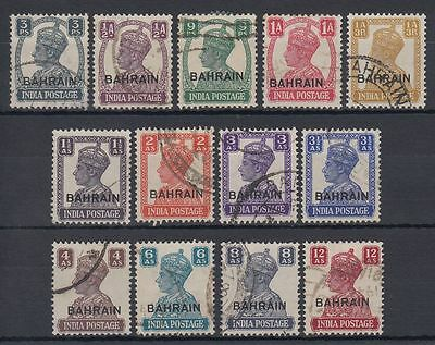 Bahrain 1942/45 Mi.36/48 SG 38/50 fine used 3p to 12a, ovpt. on India [g1716]