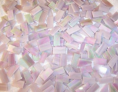 """50 1""""  Rose Pink Iridescent Stained Glass Mosaic Tiles"""