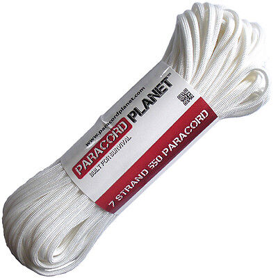 White 100' 550 Paracord Mil Spec Type III 7 Strand Parachute Cord 100 ft