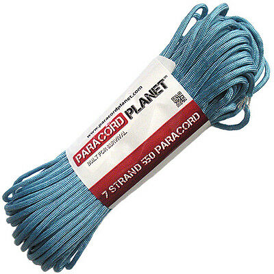 Light Blue 550 Paracord Mil Spec Type III 7 Strand Parachute Cord 100 ft