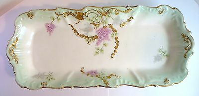 Antique BAWO & DOTTER ELITE VANITY TRAY - PINK LILACS & GOLD - Limoges Porcelain