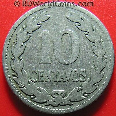 1921 EL SALVADOR 10 CENTAVOS FRANCISCO MORAZAN MEDAL ROTATION COIN Cu-Ni 26mm