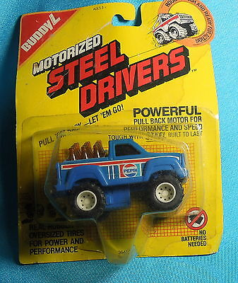 TOY BUDDY L MOTORIZED STEEL DRIVERS PEPSI BOTTLE DELIVERY TRUCK  PULL 'EM BACK