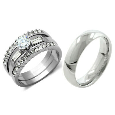 His & Hers 4 PCS Womens Stainless Steel Engagement Set w/ Mens Matching Band