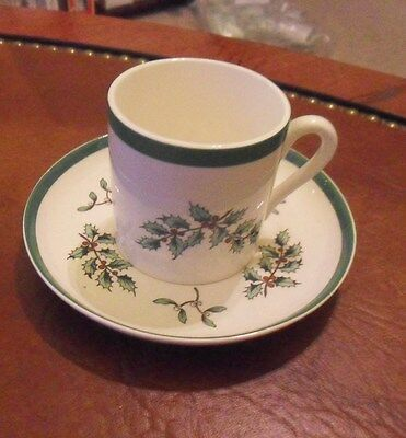 Spode Christmas Tree Demitasse Odd Saucer & Cup has crazing New!