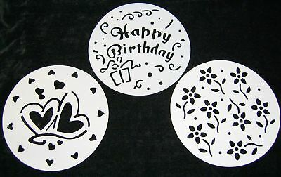 New 3 Cake Stencils Dusting Icing Sugar Cocoa Hearts Flowers Happy Birthday Lpms