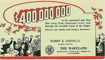 INK BLOTTER -- Maryland Casualty Co, Baltimore, MD / Forgery Insurance