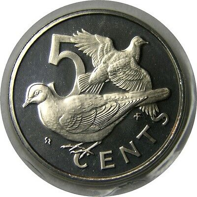 elf British Virgin Islands 5 Cents 1975 Proof Dove  Bird