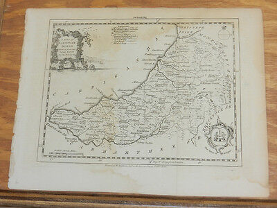 July 1754 Antique Map//COUNTY CARDIGANSHIRE, WALES//London Magazine