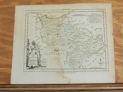 Feb 1756 Antique Map//COUNTY DENBIGH, WALES//London Magazine