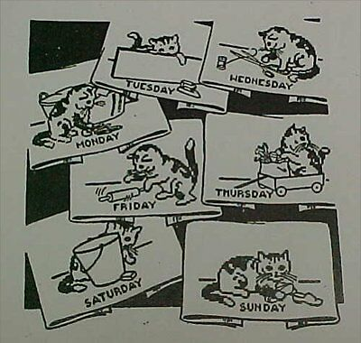 Vintage Transfer Pattern Kitty Cat DOW Chore Mail Order Hand Embroidery