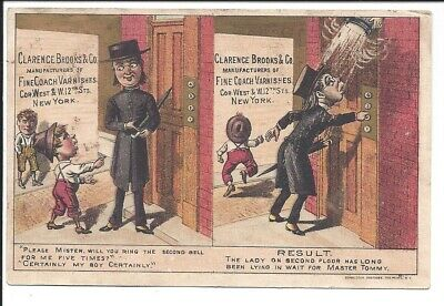 Humorous Trade Card, Brooks' Coach Varnishes, 1880s (good color)