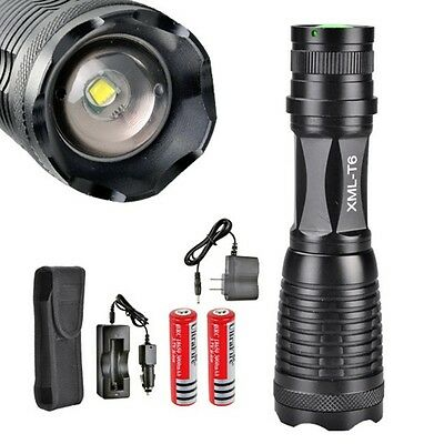 2000LM CREE XM-L T6 Zoom Flashlight Torch 5 Mode!+2X18650 battery!+CAR charger!