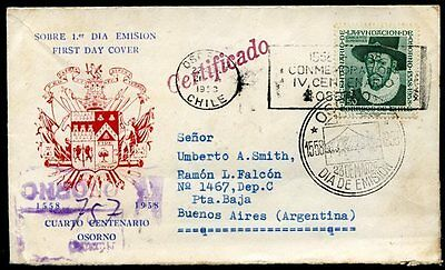 CHILE TO ARGENTINA Registered FDC 1958, w/Seal on the Back, VF