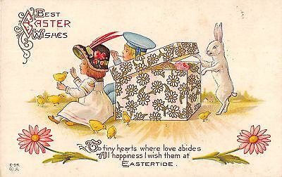 Best Easter Wishes Fantasy Bunny Going Into Box Children & Chicks Antique V8053