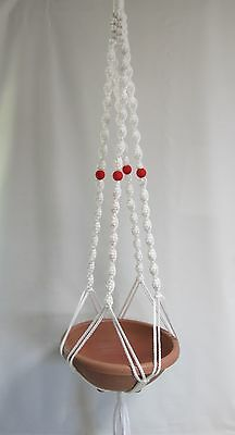 Macrame Plant Hanger 52in Deluxe- WHITE Cord with RED BEADS