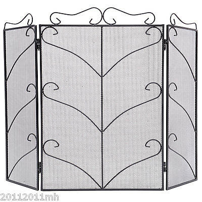 Fire Screen Antique Fireplace Screen with Design Black Iron New