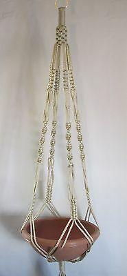 MACRAME PLANT HANGER 48in VINTAGE Style 6mm PEARL