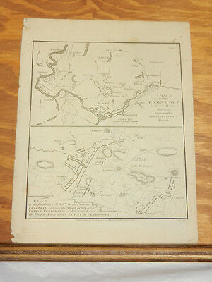 1781 Antique Map//BATTLE OF ZORNDORF IN PRUSSIA, NOW POLAND, IN 1758