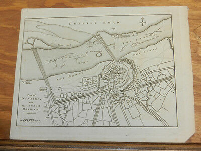 1801 Antique Map//PLAN OF DUNKIRK, WITH CANAL OF MARDICK, FRANCE
