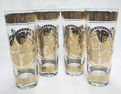 "Vintage Culver Coronet 6.75"" Collins or Iced Tea Drinking Glass Set of 4 MCM"