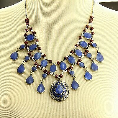 LAPIS Belly Dance ATS tribal NECKLACE Afghani Kuchi 806a2