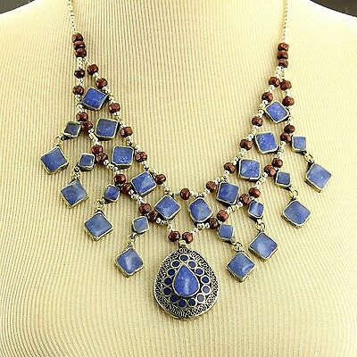 LAPIS BellyDance ATS Costume NECKLACE Kuchi Tribe 806a3