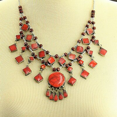 CORAL Belly Dance ATS tribal NECKLACE Afghani Kuchi 806c2