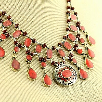 CORAL Belly Dance ATS Tribal NECKLACE Kuchi Afghani 806c4