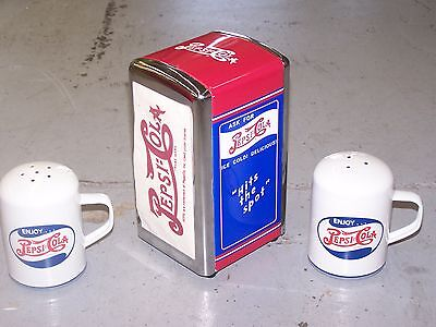 Red & Blue PEPSI-COLA ENAMEL WARE  SALT & PEPPER SET & NAPKIN HOLDER NEW IN BOX
