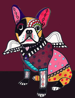 FRENCH BULLDOG art PRINT Dog Angel Poster heather galler 8x10