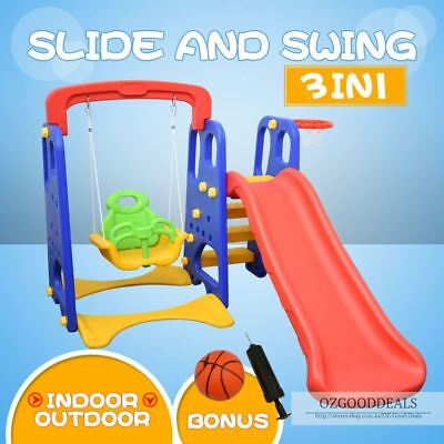 Children Kids Toddler Slide Swing Basketball Play Toy Activity Set Blue Red