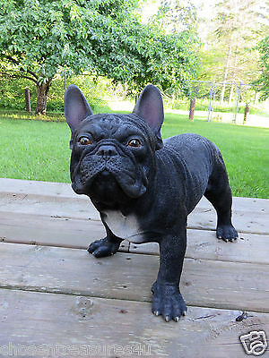 LARGE FRENCH BULLDOG RESIN DOG STATUE FIGURINE 20 in.L X 14in.CANINE HOME DECOR