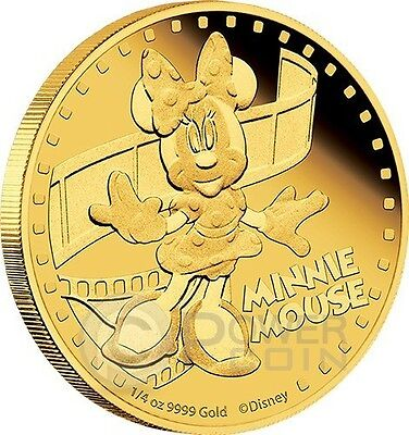 MINNIE MOUSE Mickey And Friends Disney 1/4 Oz Gold Proof Coin 25$ Niue 2014
