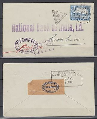 1942 Aden Cover to Cochin, passed by Censors at Aden and in India [ca490]