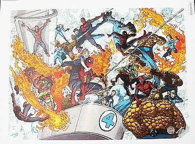 Spider-Man & Fantasy Four #4 Marvel Giclee Canvas Print Signed by Stan Lee AP1