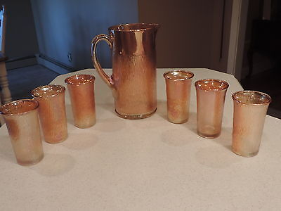 VTG Imperial Amber Marigold Carnival Glass Pitcher 8 Tumblers Juice Glasses FALL