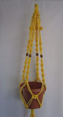 Macrame Plant Hanger 39in 6mm with Beads  ButtonKnot Sunshine Yellow