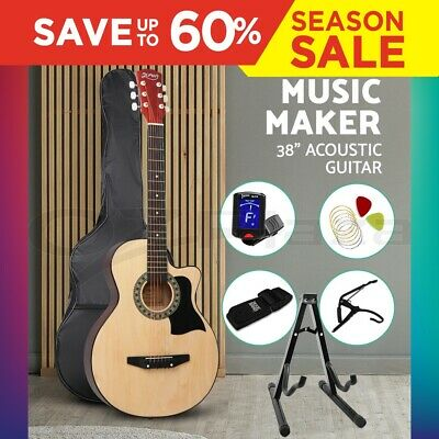 """38"""" Inch Wooden Folk Acoustic Guitar Classical String Capo Bag Stand Tuner Strap"""