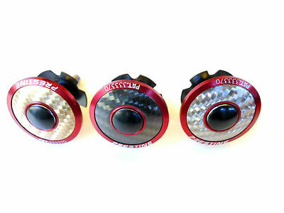 """Head Stem Cap 1-1/8"""" Alloy Red with Carbon Pattern - Double Star Nut PT1710SCF"""