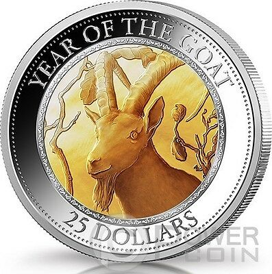 GOAT MOTHER OF PEARL Lunar Year Series 5 Oz Silver Coin 25$ Cook Islands 2015