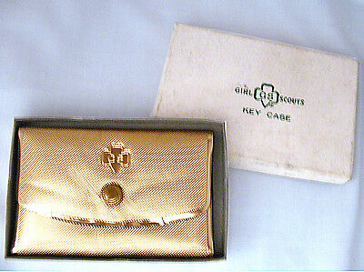 Girl Scout KEY CASE Gold Metallic Grained NEW with Original BOX, Collector GIFT