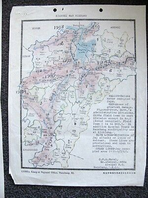 1946 Map With Hand Colored Notations Showing Japanese Military In China