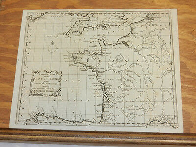 1758 Antique Map//CHART OF THE COAST OF FRANCE///a