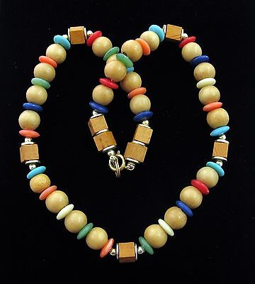 WOOD and PLASTIC BEAD Necklace and Pierced Earrings SET Vintage Blue Yellow Red
