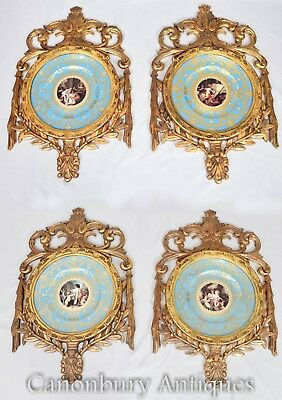 Sevres Porcelain Plaques - French Cherub Designs and Gilt Frame